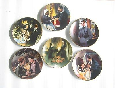 "Lot of 6 Gone With The Wind Miniature Collector Plates  3 1/2"" Lot 2"