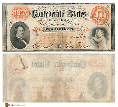 $10 1861 The Confederate States of America - Sec of State R M T Hunter
