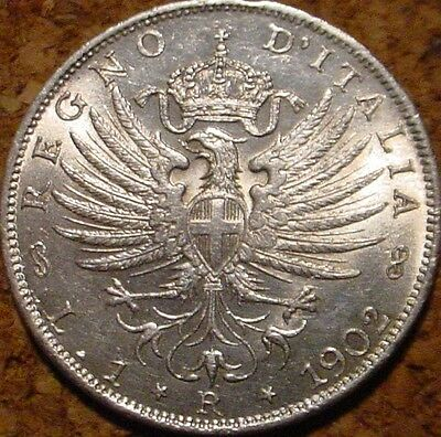 Beautiful Hi Grade Unc 1902 Silver 1 Lira Kingdom Of Italy**superb Detailed*coin