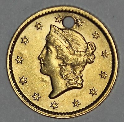 1853 U.S. Liberty Head $1 One Dollar Gold Coin - Hole Drilled