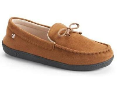 Men's ISOTONER 9K979 Brown/Tan Moccasin Slippers Slip on Casual House Shoes NEW