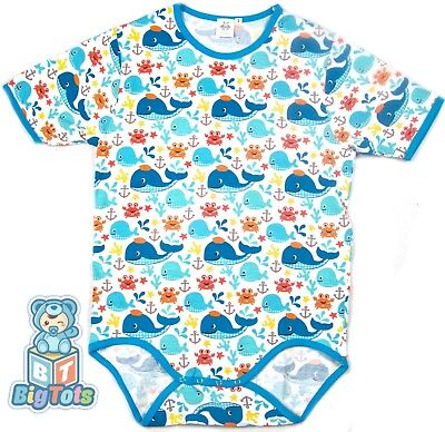 BIG TOTS WHALES adult size bodysuit baby fabric
