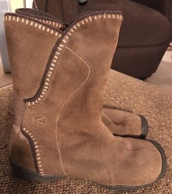 KEEN Womens Brown Olive Suede Pull On Ankle Boots Sz 8 M