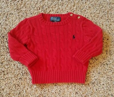 Boys POLO RALPH LAUREN 12 mo Red Cotton Knit Sweater Button Neck Cableknit EUC