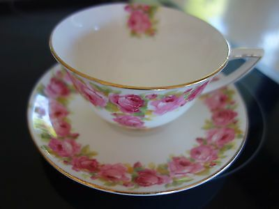 "ART DECO 30s ! PINK ""RABY"" ROSE DESIGN ! ROYAL DOULTON TEACUP &  SAUCER"