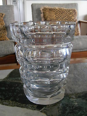 ART DECO 30s WIDE FACET /RIDGED GERMAN MOSER CRYSTAL VASE