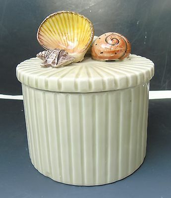 Vintage Fitz & Floyd Porcelain Seashells Canister Lidded Box Ribbed Off White