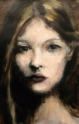 "8x6"" Original painting - acrylic on paper - girl portrait"