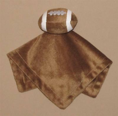 Babie R Us Brown White Velour Football Plush Security Blanket Lovey Baby Toy
