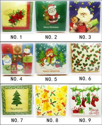 20pcs/pack Paper Napkin Square Christmas Series 100% Virgin Wood 33X33CM 2ply
