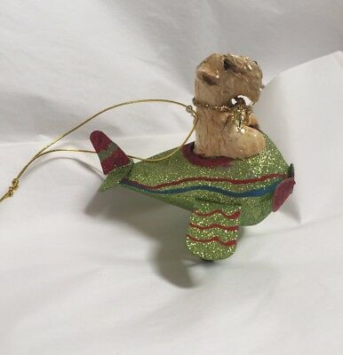 Wheaten Terrier  Hand Sculpted Hand Painted  Wheaten Airplane Ornament By Darci
