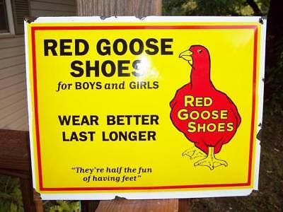 Porcelain Sign Red Goose Shoes Wear Better Last Longer Store Display Wall Sign