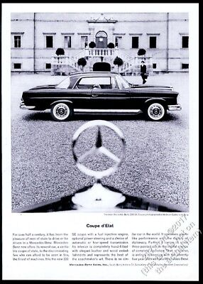 1962 Mercedes Benz 220SE 220 SE coupe car and hood star photo vintage print ad