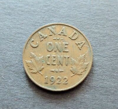1922 Canada 1 Cent Coin, Circulated Condition, Lot#602