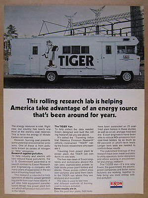 1975 Exxon TIGER Coal Power Plants Emissions Research RV photo vintage print Ad