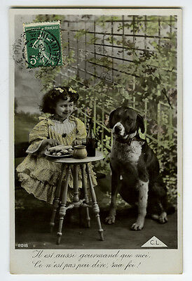 c 1909 Little GIRL w/ HER DOG tinted photo postcard