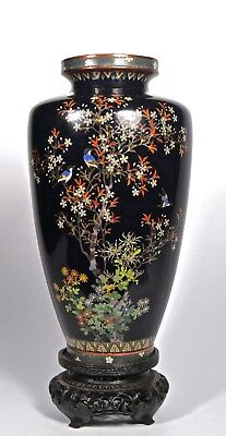 ANTIQUE FINE SILVER WALL JAPANESE CLASSIC MEIJI CLOISONNE VASE 2 wall neck