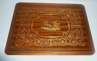 Early Intricate Inlaid Wooden Panel Originally From A Cabinet Door?of An Antique