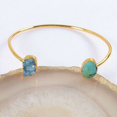 Blue Agate Druzy Geode & Natural Genuine Turquoise Bangle Gold Plated H93540