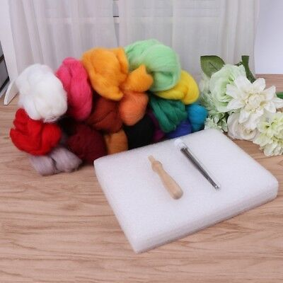 HOT Wool Felt + Needles Felt Tool Set Needle Felting Mat Starter Kit 16 Colors