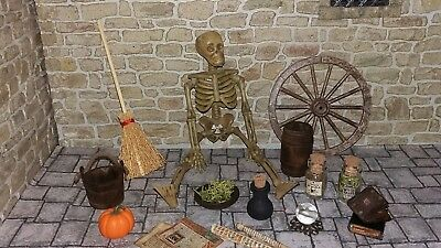 Dolls House Skeleton Witch Halloween Spell Hand Made Tudor 12Th Scale Furniture