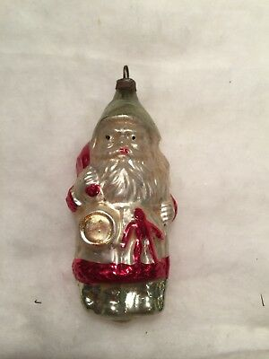 Antique German Figural Blown Glass Santa with Bag & Toys Ornament
