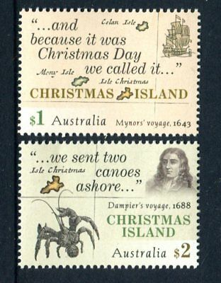 2017 Christmas Island Early Voyages - Set of 2 MUH Stamps
