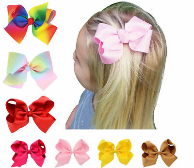8 Inch Big Bows Boutique Hair Clip Pin Alligator Clips Grosgrain Ribbon Bow Girl