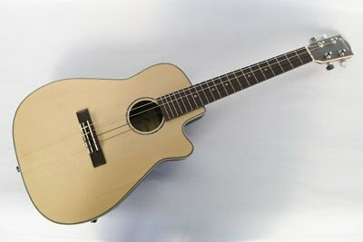Satin Finish Baritone Roundback Electro Acoustic Uke Ukulele - By Clearwater