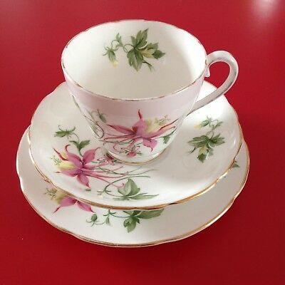 ADDERLEY ~ Columbine ~ Cup/Saucer/Plate ~ Trio ~ fine Bone China ~ Shabby Chic