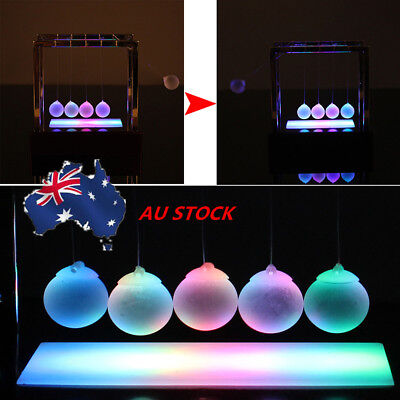 AU Illuminated Desk Science Toy Light Up Newtons Cradle Balance Ball Decor Gift
