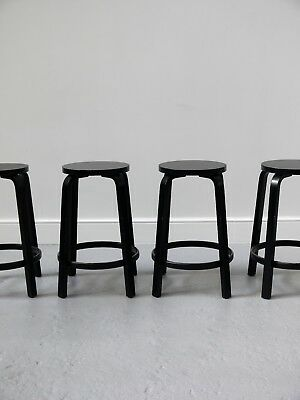 2014 Original Set Of Four Alvar Aalto Artek Bar Stools Model 64 Made In Finland