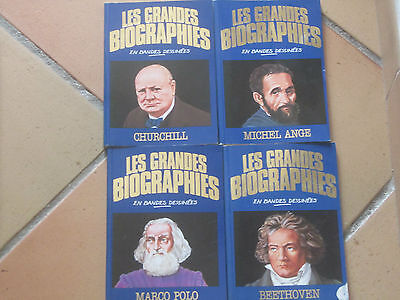 lot 4 bd LES GRANDES BIOGRAPHIES en Bandes dessinées - marco polo churchill...