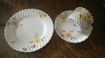 Vintage Chelsea Ware fluted design bone china trio - side plate, teacup& saucer