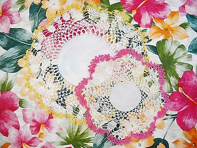 2 Very Vintage Hand Crochet Round Lace Doilies W/colorful Pink & Yellow Edging