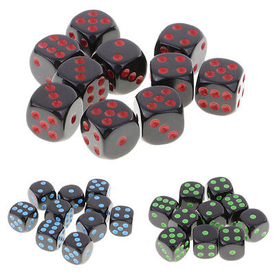 10x Opaque 16mm Six Sided Spot Dice D6 for Dungeons &Dragons RPG Board Games