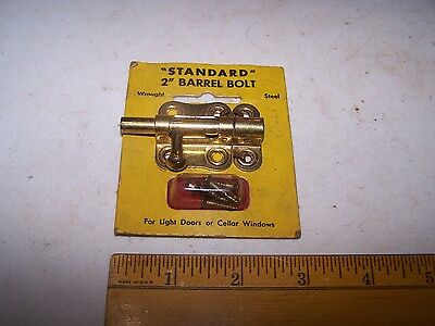 "Vintage STANDARD 2"" BARREL BOLT Door Window  Gate Latch Lock Shelby Metal Ohio"