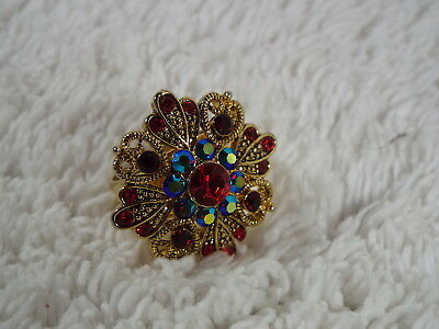 Goldtone Red & Ab Rhinestone Cocktail Ring ~ Adjustable Size 7-10 (A53)