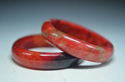 Superb quality Chinese old jade Hand Carved Beautiful pair Bracelet Bangle ad22