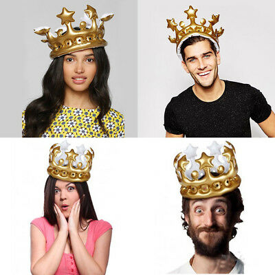 Inflatable Gold Crown Kids Adult Birthday Hats Cap King Queen Party Decoration