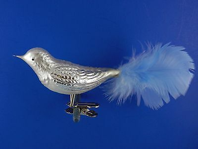 Silver Bird Clip On With Blue Tail Glass Christmas Ornament 012257b