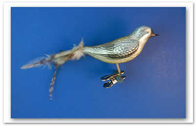 Song Bird Clip On Glass Christmas Ornament Animal Feather 012314b