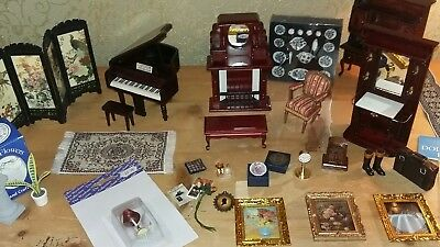 Dolls House Mixed Job Lot Furnite 12Th Scale Fireplace Chair Dresser Miniatures
