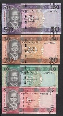 South Sudan Bank of South Sudan 2015 UNC Set Banknotes 50 20 10 5  Pounds 蘇丹