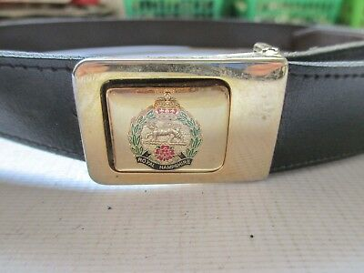 Vintage Leather Belt & Royal Hampshire Regiment Buckle