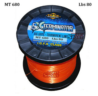 FILO MULINELLO EXTERMINATOR mt 680 ORANGE  TRAINA BIG GAME 80 LB  mm 0,80 IGFA