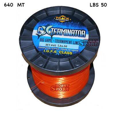 FILO MULINELLO EXTERMINATOR mt 640  ORANGE  TRAINA BIG GAME 50 LB  mm 0,70 IGFA