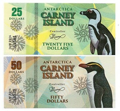 CARNEY ISLAND 25 and 50 Dollars [2016] - Set of 2 Crisp UNC Banknotes