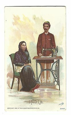 1892 Trade Card Singer Manufacturing Co Sewing Machine INDIA