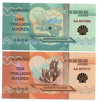 DARWIN ISLAND  1 and 10 TRILLION SUCRES  - 2 Crisp UNC Private Issue Banknotes
